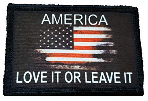 America Love It or Leave It Morale Patch -Made in The USA- Patches Perfect for Your Plate Carrier Military Vest, hat, Backpack. Funny Patch by Redheadedtshirts! (Made With Love Patch)