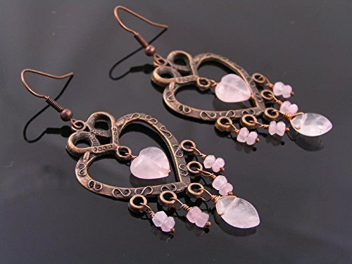 - Antique Copper Heart and Rose Quartz Chandelier Earrings