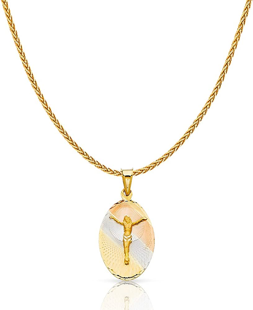 14K Tri Color Gold Diamond Cut Jesus Crucifix Stamp Charm Pendant with 1.1mm Wheat Chain Necklace