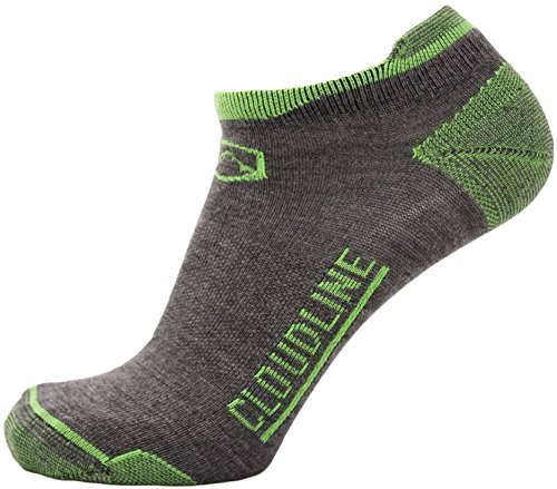 CloudLine Merino Wool No Show Athletic Tab Ankle Running Socks - Ultra Light - Large PNW Green - for Men & Women