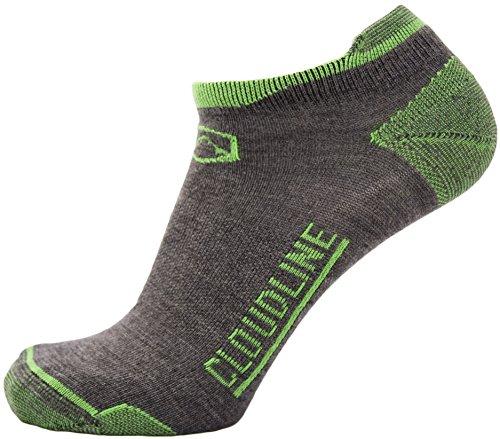 Wool Stocking (CloudLine Merino Wool No Show Athletic Tab Ankle Running Socks - Light - Medium PNW Green - Made in USA)