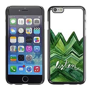 Cubierta de la caja de protección la piel dura para el Apple iPhone 6PLUS (5.5) - listen trees green watercolor lizard white
