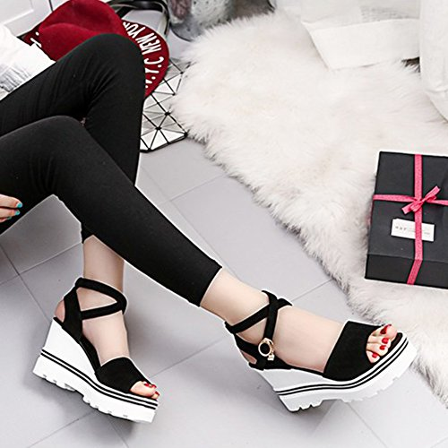 Sandals for Sandal Bottom Summer HRFEER Thick Women Shoes Womens Female Heel Fashion Black Wedge 5nx4R