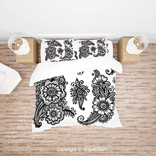 PUTIEN Durable Lightweight Fabric Printing Custom Bedding Set,Hand Drawn Style Vintage Mehndi Compositions Blossoming Flowers Retro Fun Design Decorative,Quilt Cover for Women Men Bedroom.