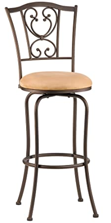 Hillsdale Concord 30-Inch Brown Swivel Barstool with Buckskin Faux Suede Fabric Seat