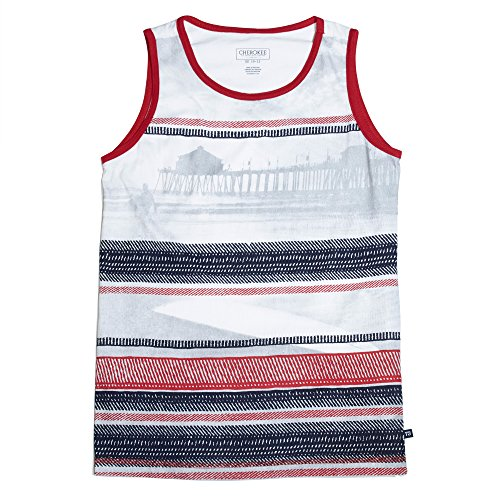 Cherokee Boys Tagless Collar Cotton Tank Top with Summer Prints White/Red/Blue Size (Cheap Bridesmaid Tank Tops)