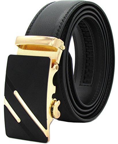 (Mens Belts Gozillon Genuine Leather Dress Belt - Automatic Sliding Buckle Ratchet Adjustable Track Belt (115cm,)