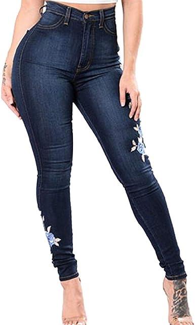 Pure Color Jeans Casual Skinny Bordado Pantalones Vaqueros Rectos Vaqueros Azul Moda Jean Para Damas Amazon Es Ropa Y Accesorios