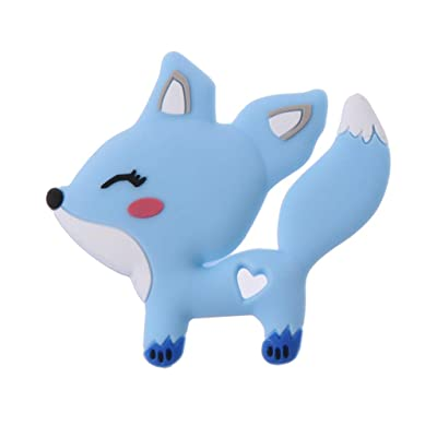 CHBC Cute Fox Baby Teether Silicone Teething BPA Free DIY Pacifier Chain Beads Teething Toy Silicone Teether (Blue) : Baby