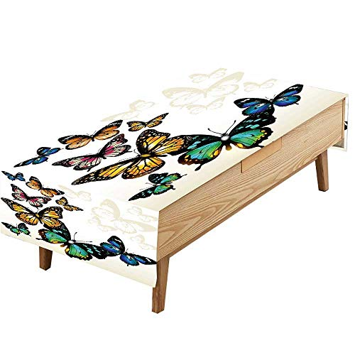 PINAFORE Indoor/Outdoor Spillproof Tablecloth Beach Pool Ombre ButterflyColorful Monarch Butterflies Shades Shadows Ombre Blue Pink Green Great Buffet Table, Parties,Wedding & More W70 x L120 INCH