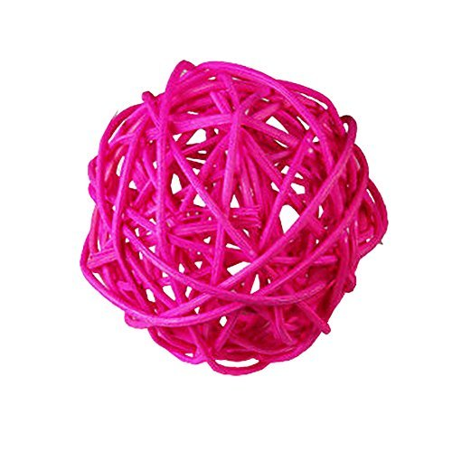"Custom & Fancy {2"" Inch} Approx 600 Pieces of Large Round Ball ""Table"" Party Confetti Made of Premium Rattan w/ Modern Contemporary Girls Bright Shimmering Creative Natural Twig Nest Design [Pink]"