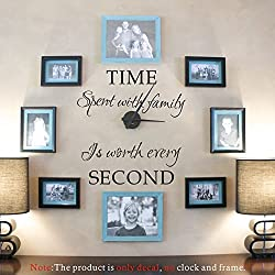 Maribeatty Photo Frame Decal Quote Time Spent With Family Is Worth Every Second Living Room Vinyl Wall Sticker Picture Decor