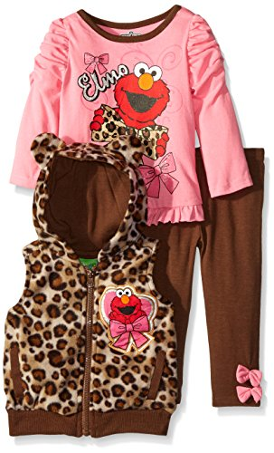 [Sesame St Baby-Girls 3 Piece Elmo T-Shirt with Hoodied Vest with Ears and Legging, Brown, 12 Months] (Sesame Street Costumes For Babies)