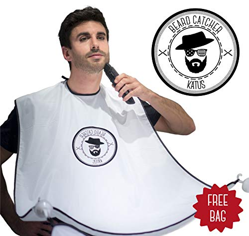 KATUS Beard Catcher - Beard Bib Perfect Gift for Trimming, Gromming, Shaving - Keep Sink Clean - White Beard Cape Apron with Strong Suction Cups