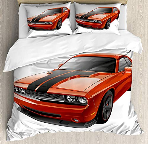 SINOVAL Boy's Room Duvet Cover Set Queen Size, Modern Muscle Car Exotic Sports Hobby Activity Leisure Concept Design,Fashion 3 Piece Bedding Set with 2 Pillow Shams, Orange Charcoal Grey