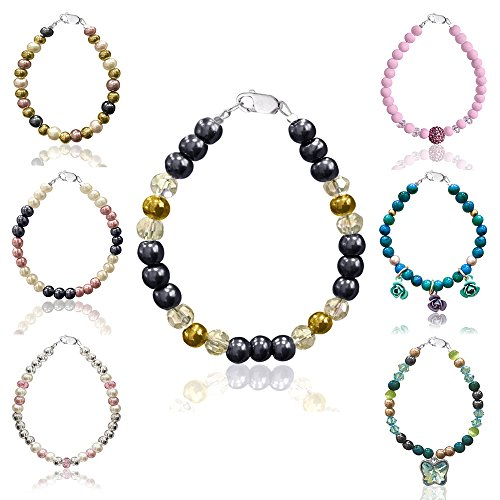 Baby & Girls' Beaded Bracelets With Swarovski & Czech Crystals, Simulated Pearls & Other Stones - Sterling Silver Clasp & Extension Chain - by D Charm (Baby Bracelets Beaded Gold)
