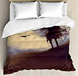 Horror Decor Duvet Cover Set by Ambesonne, Dark Soul From a Scary Movie Film on the Hills with Clouds and Flying Crows Print, 3 Piece Bedding Set with Pillow Shams, King Size, Black