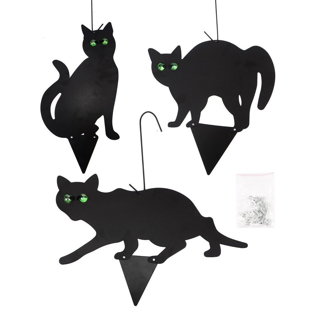 Ardisle 3 Pack x Fake Black Metal Scare Cats Pest Pests Control Scarer Repeller Cat Deterrant Black Cat Bird Repellent Deterrent, Scares Pon Ponds Birds Such as Pigeons and Seagulls Decoy Humane Rat Mouse Mice Rodent Reflective Eyes Animal Crow Fox Mole B
