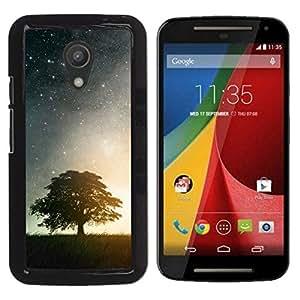 // PHONE CASE GIFT // Duro Estuche protector PC Cáscara Plástico Carcasa Funda Hard Protective Case for Motorola G 2ND GEN II / BEAUTIFUL STARRY NIGHT STARS & TREE /