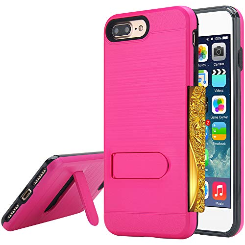 Alkax for iPhone 8 Plus Case, iPhone 7 Plus Case with Kickstand Heavy Duty Hybrid Hard Armor Shockproof Card Slots Holder Hard PC & Soft TPU Protective for Apple iPhone 8 Plus/7 Plus &Stylus -Hot Pink