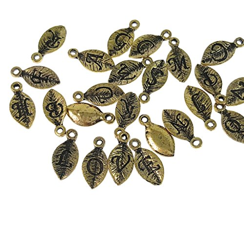 Sodacraft 26pc Antique Gold Full Alphabet Leaf Letter Charms for Jewelry Making, Bracelets (15mm) ()