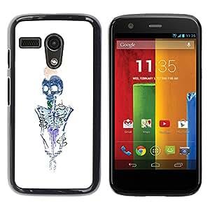 GOODTHINGS Funda Imagen Diseño Carcasa Tapa Trasera Negro Cover Skin Case para Motorola Moto G 1 1ST Gen I X1032 - cerebros esqueleto de metal blanco azulado