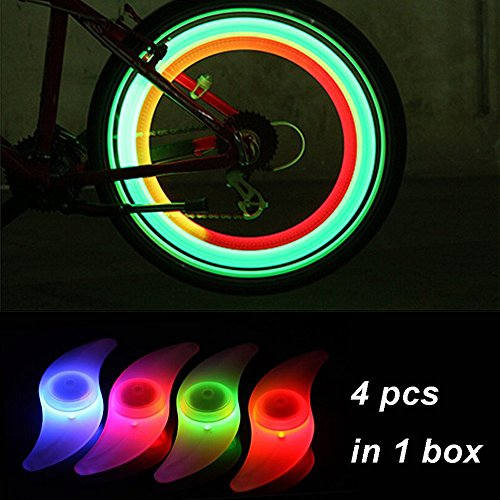 [RightBearing 4pcs Cycling Spoke LED Neon Light for Bicycle/Bike Flash Spoke Lamp Bulb Safety Alarm t18] (Bicycle Neon Lights)