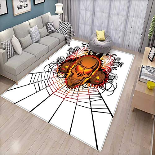 Halloween Kids Carpet Playmat Rug Angry Skull Face