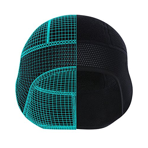 Qinglonglin Black Skull Cap Helmet Liner Cycling Beanie Perfect for Winter Outdoor Sports, Ear Covers & Moisture Wicking (Perfect Moisture)