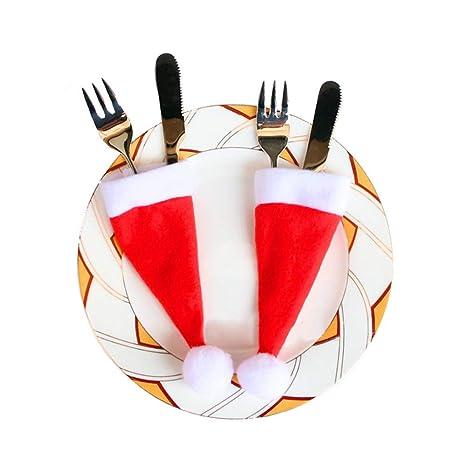 MIRRAY 10 UNIDS Gorros de Navidad Cubiertos Tenedor Cuchara Bolsillo Bolsillo Decoración de Navidad