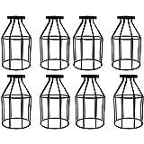 "8pcs Vintage Lampshade, Motent Industrial Retro Metal Bird Cage Edison Bulb Guard, Iron Wrought 1-Light Lamp Holder, Creative DIY Lighting Fixture, 4.7"" Dia for Pendant Light Wall Lamp - Wine Bottle"