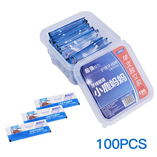 inkint 100pcs Dental Floss Flosser, Individually Wrapped Oral Care Teeth Clean Flat Wire Floss Picks (100pcs)