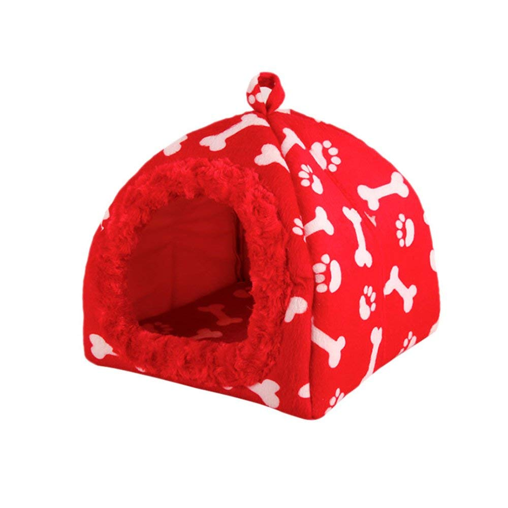 Red Medium Red Medium Pet Bed Spring Summer Autumn Winter Pet Nest Cat Nest Warm Kennel Doghouse Bone Shape Cotton Nest Waterproof Removable and Washable (color   Red, Size   Medium)