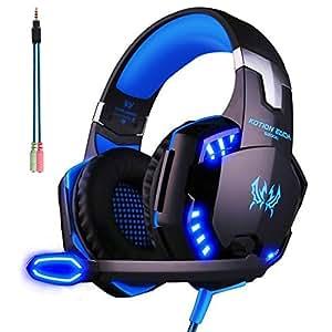 ArkarTech Cascos Auriculares Gaming con Micrófono Headset Auricular Gamer Juegos Jack 3,5mm Ultra-livianos Ajustable Estéreo LED y USB Para PC Computadoras
