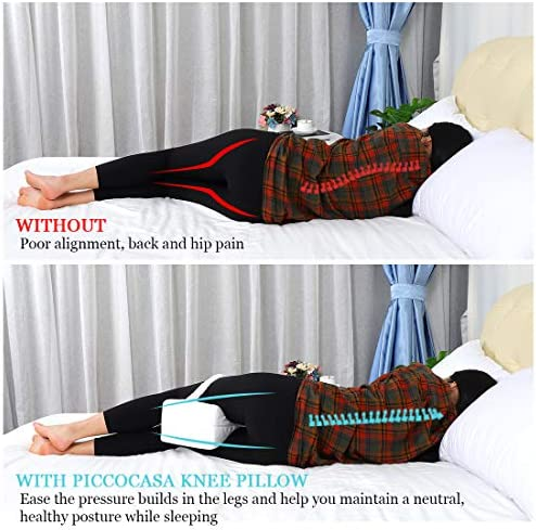 Pure Memory Foam Leg Pillow for Back Support Pillow with Elastic Strap Cover Bag Navy Leg Joint PiccoCasa Knee Pillow for Side Sleeping Hip