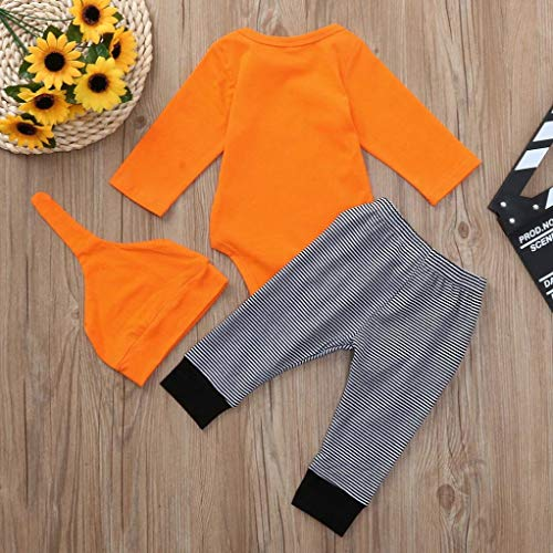 Halloween fumetto Bambino del Halloween lunghi strisce a zucca BYSTE lunga Arancia Manica Camicie Pagliaccetto messi Pantaloni Body Top lettera Ha4Eqd
