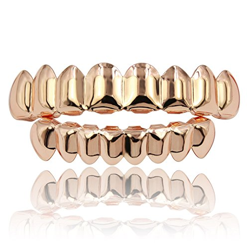 JINAO 18K Gold Plated Gold Finish 8 Top Teeth & 8 Bottom Tooth Hip Hop Mouth Grills (Rose Gold Set)