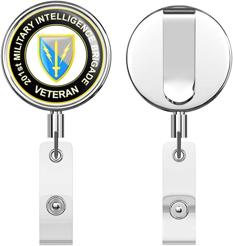 U.S Army 201st Military Intelligence Brigade Veteran Round ID Badge Key Card Tag Holder Badge Retractable Reel Badge Holder with Belt Clip