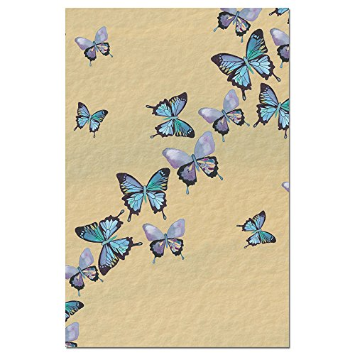 "Tree-Free Greetings EcoNotes Stationary- Blank Note Cards with Envelopes, 4"" x 6"", Blue Butterflies in Flight, Boxed Set of 12 (FS66475)"
