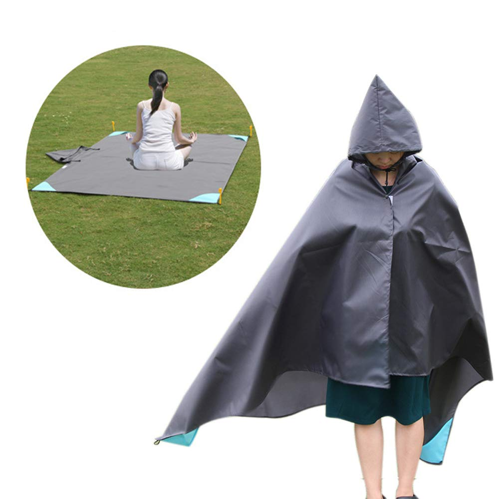MXMBOX Beach Mat,Picnic Blanket,Picnic Mat,Oxford Cloth Waterproof Moisture-Proof Easy Folding Raincoat Beach Mat, Used for Picnic Camping Hiking Grass Beach Travelling (4.59 x 6.56FT) (Gray)