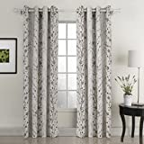 Country Style Curtains ChadMade Country Style Plum Blossom Polyester 84Wx96L Inch (1 Panel) Blackout Lined Curtain Drape Silver Nickel Eyelet Grommet SOFITEL Collection For Bedroom  Living Room  Club  Restaurant
