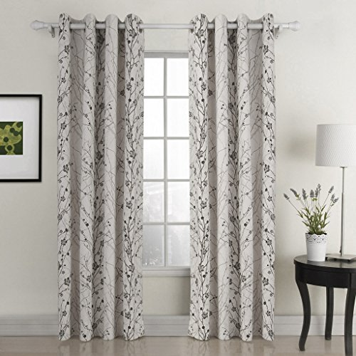 ChadMade Country Style Plum Blossom Polyester 50Wx72L Inch (1 Panel) Blackout Lined Curtain Drape Silver Nickel Eyelet Grommet SOFITEL Collection For Bedroom | Living Room | Club | Restaurant
