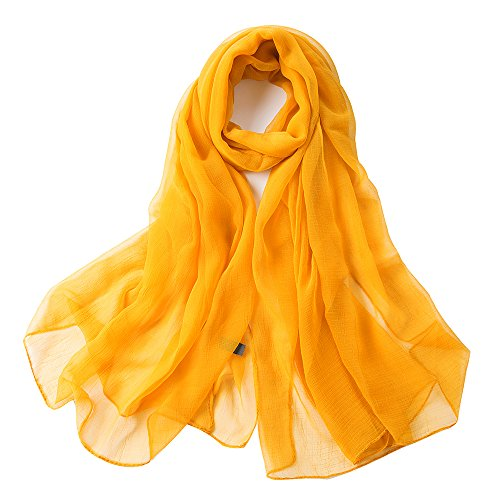 fashion folding lightweight silky solid colors scarves for women oblong shawl (deep - Mustard Golden