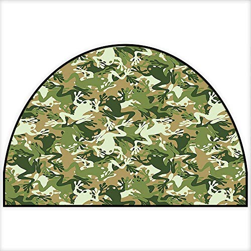 Non Skid Small Accent Throw Rugs Skull Camouflage Military Design with Various Frog Pattern Different Tones ArtPrint Sage Pine Green Keeps Your Floors Clean W30 x H18 INCH