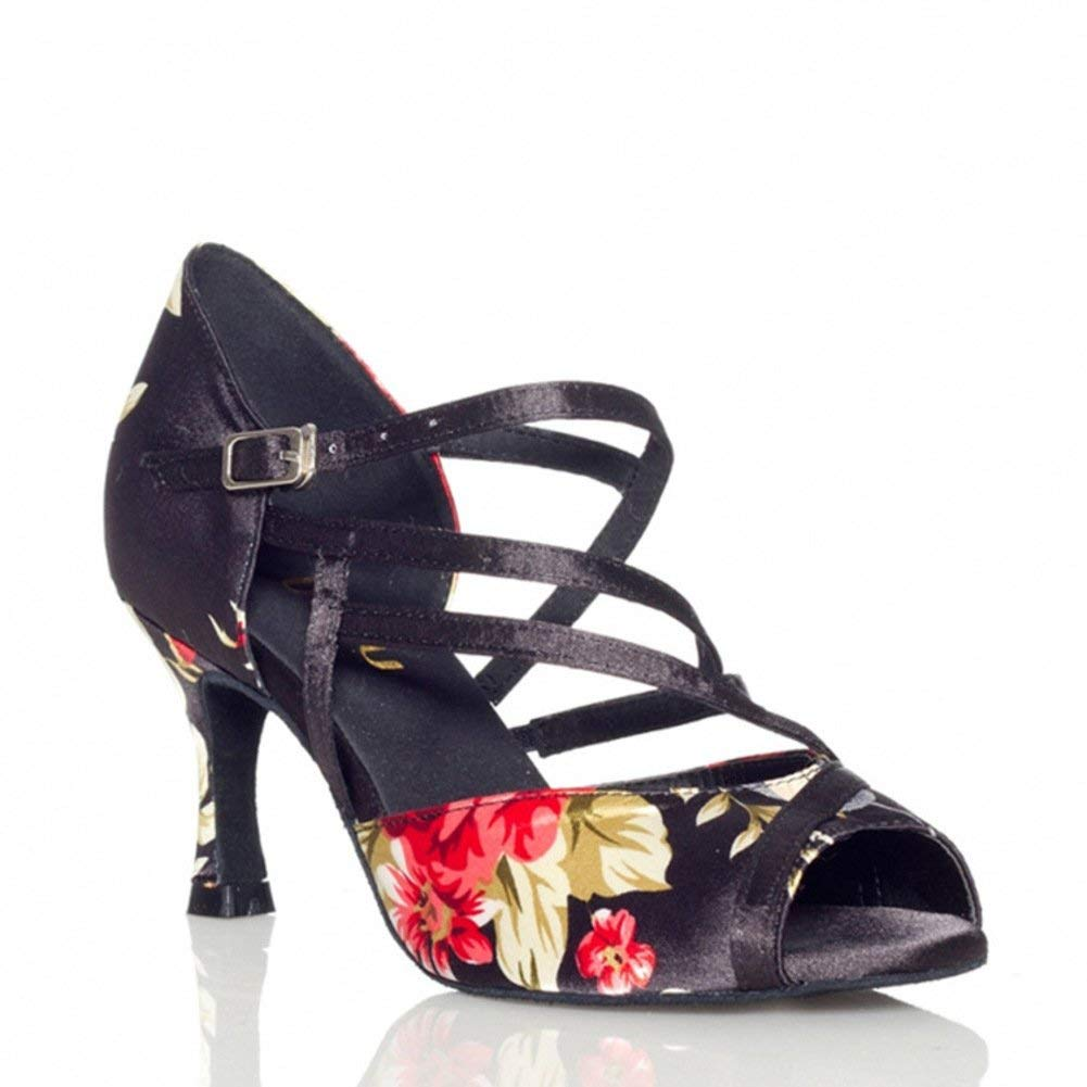 ZHRUI damen Latin Dance Schuhe Tanzschuhe Soziale Tanzschuhe Sandale Ballroom Dance Schuhe (Farbe   Schwarz Größe   Foot Length=24.3CM9.6Inch)