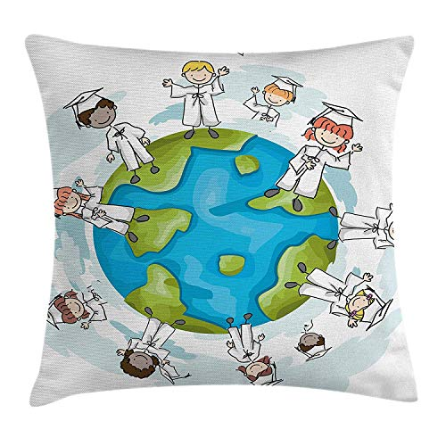 (YVSXO Graduation Decor Throw Pillow Cushion Cover, Cartoon Graduate Children on Top of The World Special Event Worldwide, Decorative Square Accent Pillow Case, 18 X 18 inches,)