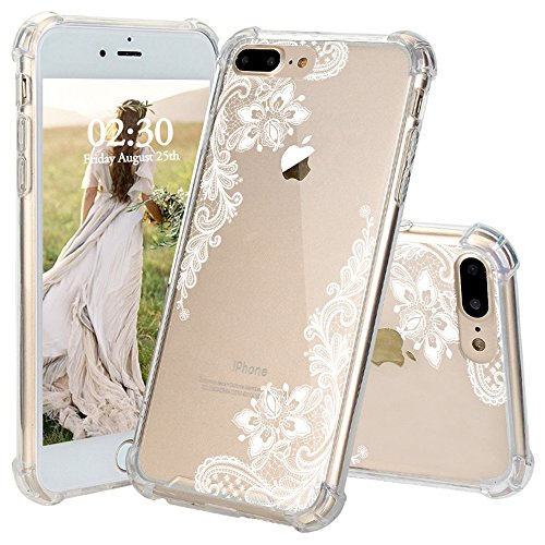 iPhone 8 Plus Case, JEXICASE White Lace Lotus Flower Pattern Clear Shock Absorption Technology Bumper Hybrid Protective Cover Case for iPhone 8 Plus 5.5 Inch