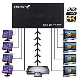 4K HDMI Splitter, Fosmon HD8027 1x8 UHD 4K 8-Ports HDMI Powered Splitter (1 in 8 out) - Supports Full Ultra HD 4K x 2k, 1080p, 3D, HDCP for HDTV, Blu-ray, Nintendo Switch, PS4/PS3, Xbox One/One S/360