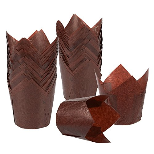 Cupcake Liners Tulip 100-Piece - Bulk Decorative Paper Cupcake and Muffin Baking Cups for Weddings, Birthdays, Baby Showers, Brown by Juvale