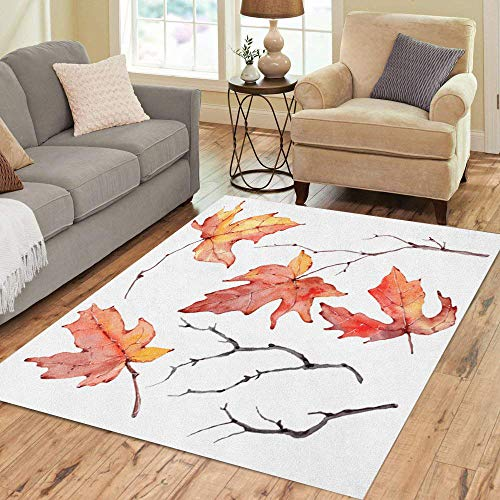 Semtomn Area Rug 3' X 5' Orange Branch Watercolor Branches Floral Bohemian Yellow Autumn Fall Home Decor Collection Floor Rugs Carpet for Living Room Bedroom Dining Room